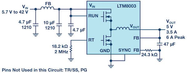 Figure 1: A 5 V converter with a simple EMI filter at the input passes CISPR 25 Class 5.