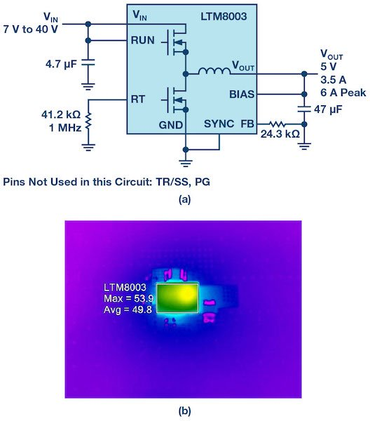 Figure 3: A 5 V, 3.5 A solution for 7 V to 40 V inputs using the H-grade version. Thermal imaging shows no need for bulky heat mitigation components.