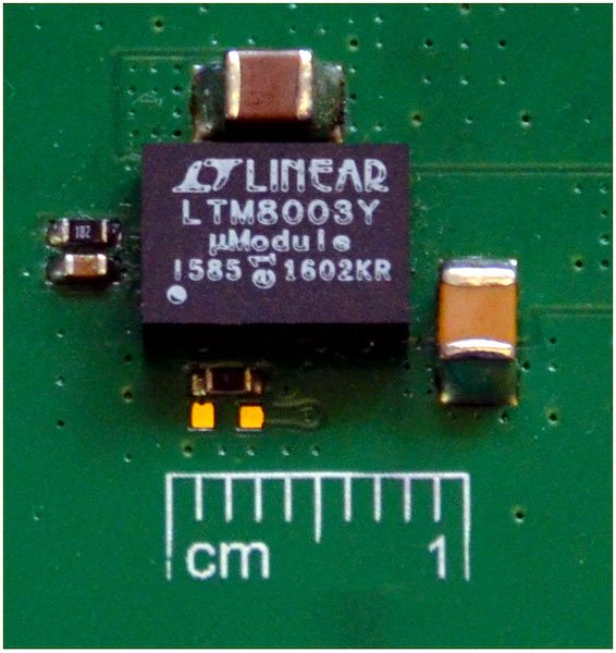 Figure 5: A complete step-down solution is barely larger than the 6.25 mm × 9 mm footprint of the LTM8003 µModule regulator.