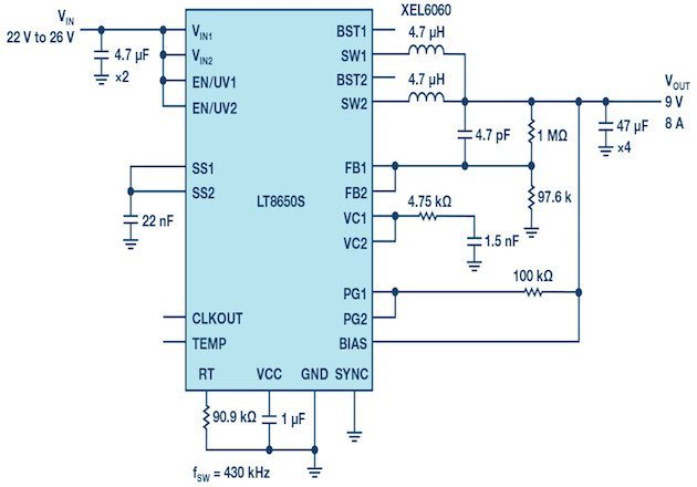 Figure 3: Paralleled outputs deliver 9 V/8 A from a 24 V input while remaining cool.