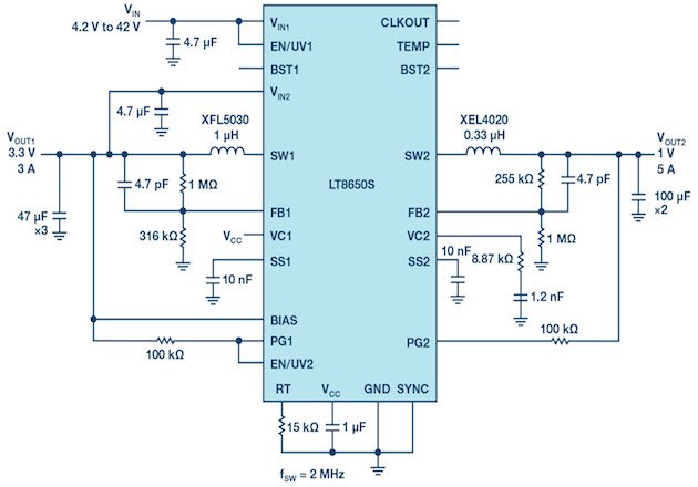 Figure 5: 3.3 V/3 A and 1 V/5 A circuit running at 2 MHz for a SoC application.