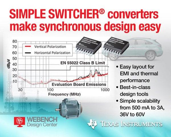 Simple Switcher DC/DC regulators enable quickly design energy-efficient, EMI-compliant systems