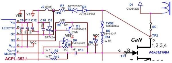 ACPL-352J overcurrent protection circuit for GaN transistor