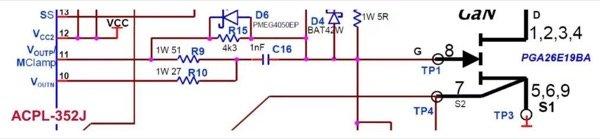 ACPL-352J driving circuit for GaN transistor