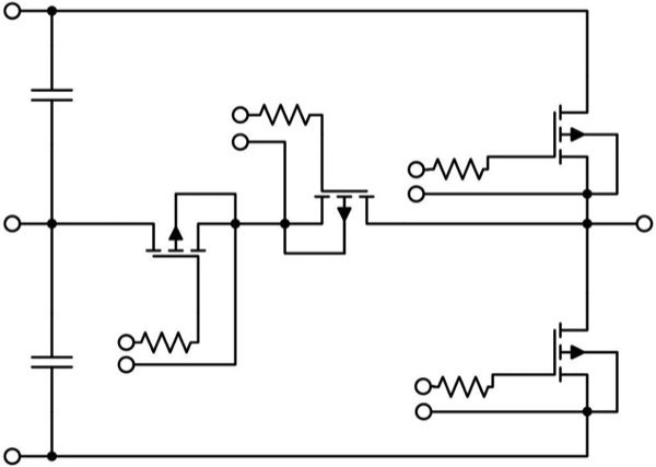 One NPC2 leg for a 60-kW three-phase energy storage inverter with SiC MOSFETs and internal resistors to adjust switching characteristics