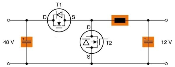 Circuit diagram of a buck-boost converter. Apart from the switching transistors, EPCOS power inductors and storage capacitors are the key components.