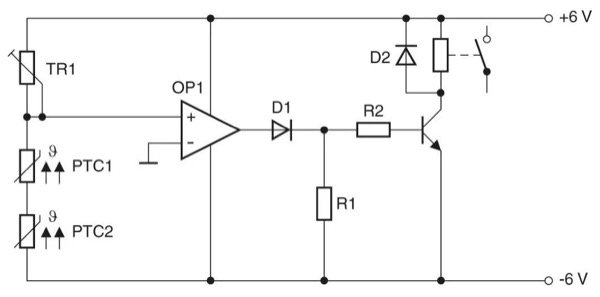Circuit for monitoring temperatures with PTC sensor.Circuit for monitoring two hot-spots: When the limit temperature is exceeded a fan can be switched on, for example.