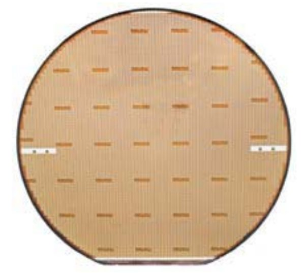 Completed eGaN FET wafer. There are about 10,000 transistors on this wafer. The next step is singulation, where the wafer is saw-cut and the individual transistors that passed testing are separated from failed devices.
