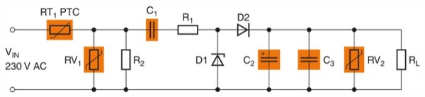 Simple capacitive power supply