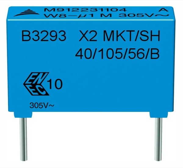 EPCOS capacitors for capacitive power supplies.Two typical EPCOS X2 capacitors that are suitable for capacitive power supplies: on the top a type from the heavy-duty series, and on the bottom a type from the B3292*H/J series