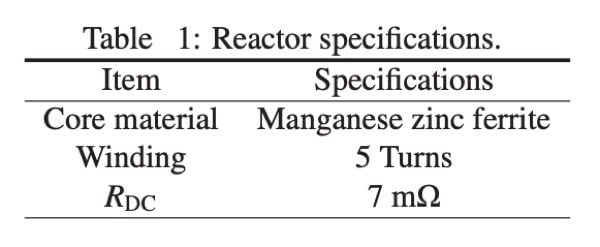 Reactor specifications