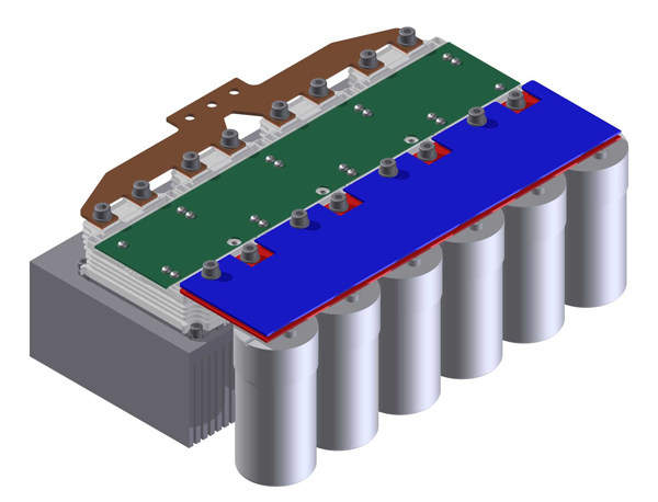 This example shows four modules in parallel with gate PCB, DC-link and phase output busbar.