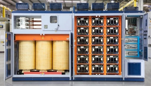 MV3000 a 4160Vac 1500hp drive from WEG. Switchgear and transformer on the left and 18 cells (shown in detail in Figure 3b) in the center
