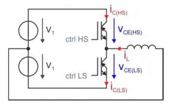 simplified RCDC-IGBT half-bridge system,
