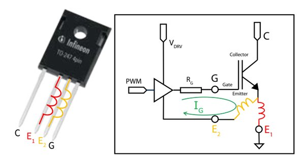 IGBT connection in Kelvin emitter configuration