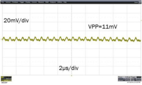 Output ripple performance with the same output capacitors (ISL8203M ripple at 4A with two outputs in parallel) (5Vin to 1Vout 4A, COUT= 2x4.7µF ceramic + 68µF POSCAP capacitor; load-current step slew rate of 1A/µs)