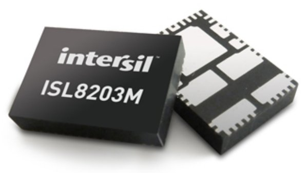 The ISL8203M power-module package measures 6.5mm x 9mm x 1.85mm