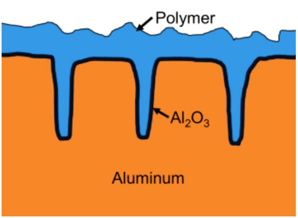 Cross-section of the anode of a polymer alu e-cap (simplified)