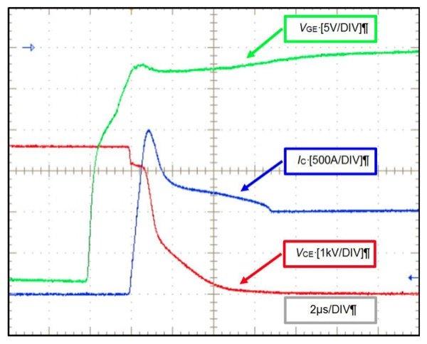 CM1000HG-130XA IGBT turn on wave forms at TJ=150 °C, VCC=3600 V, IC=1000 A, RG(on)=1,8 Ohm