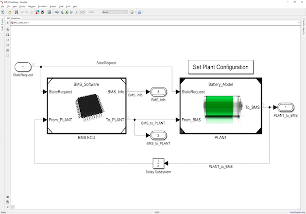 Figure 4: BMS algorithms and plant dynamics, including battery pack and load modeled in Simulink.