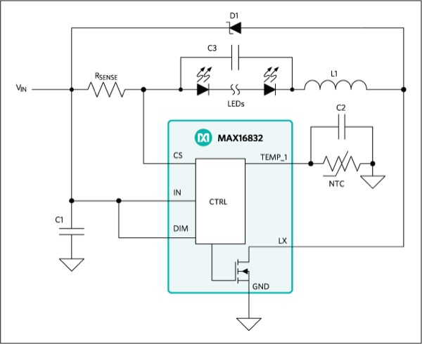 Typical application circuit of the MAX16832 as a buckconverter LED driver