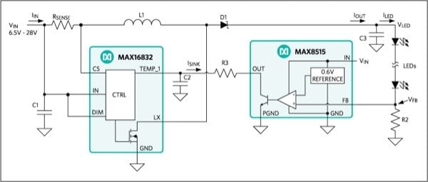 An additional circuit based on the MAX8515 shunt regulator can be used to improve LED current regulation, if needed