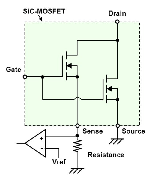 SiC MOSFET chip with current sense terminal (a)