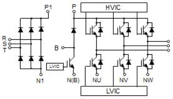 DIPIPM+TM line-up and circuit diagram with brake