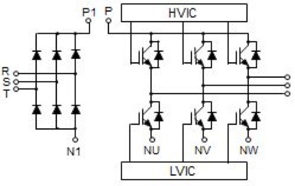 DIPIPM+TM line-up and circuit diagram without brake