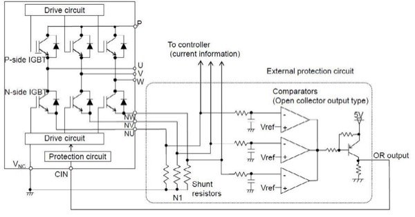 Using open emitter shunts for SC-protection and phase current sensing