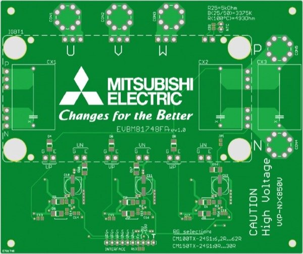 Evaluation board layout for M81748FP (top)
