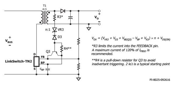 Line Overvoltage Sensing using FEEDBACK Pin