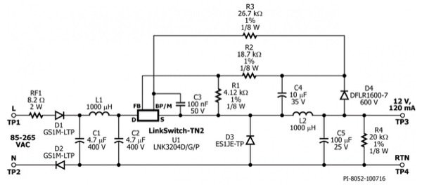 Non-Isolated 12V, 120mA Continuous Output Buck Convertor