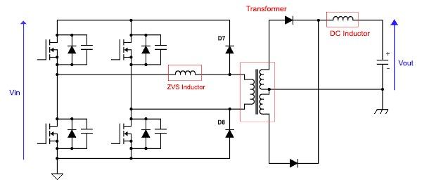 ZVS phase-shift full-bridge converter topology