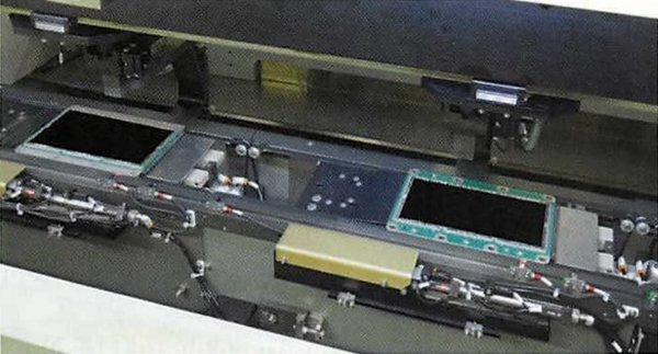 With doors open, the two IGBT modules are seen. The scanning transducers are out of sight beneath the modules.