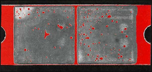 In this acoustic image, gray regions identify two ceramic rafts; red features in these regions are voids, non-bonds, delaminations or cracks in the solder layer.
