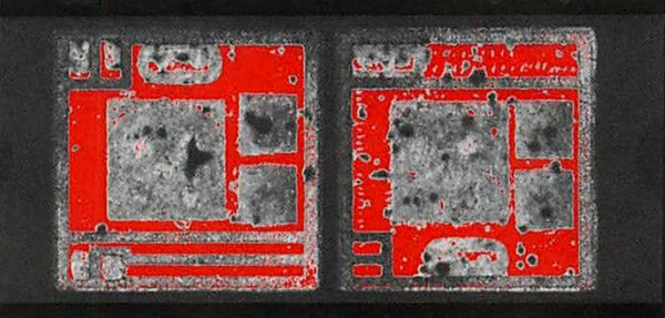 Made during the same scan as Figure 2, this image shows small red die attach voids at the largest of the three die.