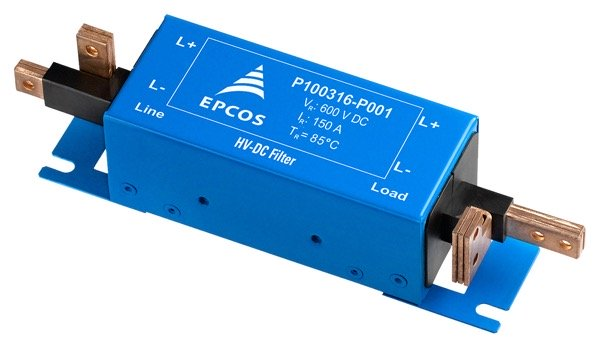 EPCOS high-voltage DC filters for automotive inverters. The connections of Version P001 are formed in such a way that they can be connected directly to the EPCOS DC-link capacitor. Apart from the space-saving design, they also offer electrical advantages such as low inductance and contact resistances.