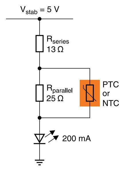 Temperature-compensated LED driver without an IC