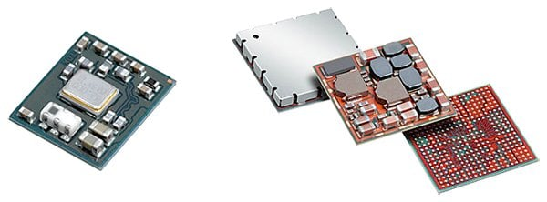 Space-saving TDK SESUB module Left: The TDK Bluetooth low energy module worldwide, developed for the Bluetooth 4.0 low-energy unit with dimensions of only 4.6 mm x 5.6 mm. The complete power management of a smartphone is integrated in the TDK power management unit (right).