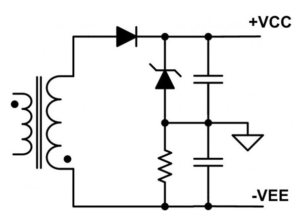 Generating the bipolar bias using one winding and a voltage split circuit