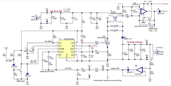 Schematic of TIDesign PMP10081, which is a SEPIC switch mode power supply modified for lead-acid battery charging