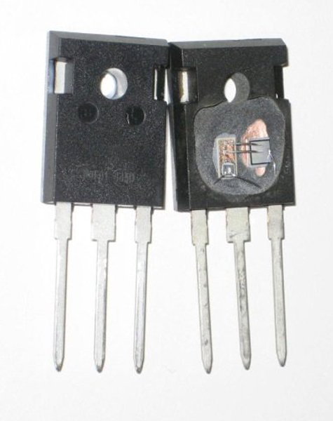 Co-packaged SiC cascode in TO-247 package (a) and equivalent circuit (b) (top)
