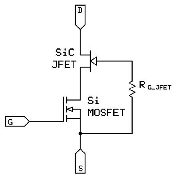 Co-packaged SiC cascode in TO-247 package (a) and equivalent circuit (b) (bottom)