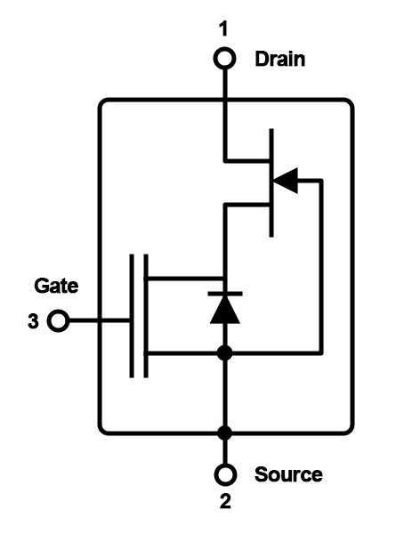 Structure of the Si MOS/GaN JFET cascodes on the market. Probably, there is also a protective zener diode to ground. The picture shows that in bridge circuits the reverse current flows through the parasitic diode of the Si MOSFET which is low voltage and hence fast. The circuit would be identical, if the nJFET were made of SiC or even Si. Only the output capacitances would differ.