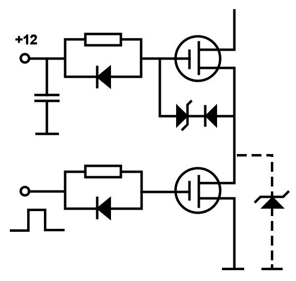 Circuit diagram of a cascode constructed from discrete components. The zener diode within dashed lines is an alternative to the diode - zener combination. Both protect the gate from excessive voltage stress during turn-off. If the upper FET is a JFET, its gate is directly connected to ground, i.e. the source of the lower one. MOSFET/JFET cascodes are particularly suited to all bridge circuits because they can conduct current in both directions, making use of the antiparallel diode of the MOSFET.