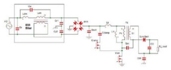 Off-line active clamp flyback converter with EMI filter