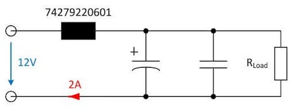 Application with peak current at switch-on (5 A / DIV   100 µs / DIV) (bottom)