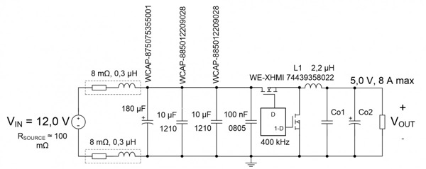 Schematic of the test buck converter showing source resistance, input lead resistance and inductance along with all input capacitors