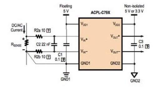 Typical current sensing application circuit.